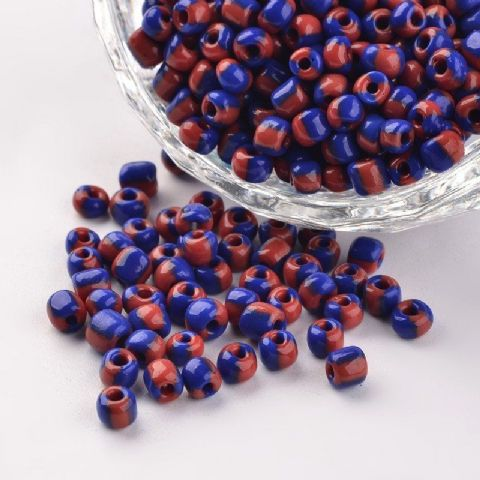 Seed Beads - 6/0 - Blue/Red Opaque - 50g
